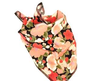 Asian floral tie on pet bandana