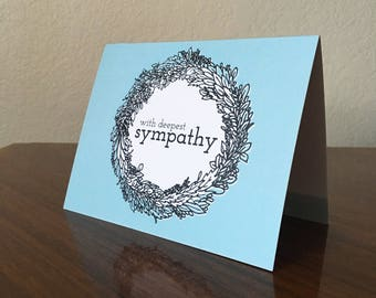 With Deepest Sympathy, Botanical Wreath Sympathy Card, Death of a Loved One