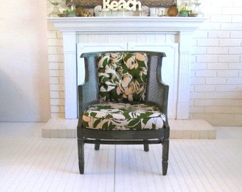 Tropical Leaf Vintage Chair Upholstered with Cane Side Panels