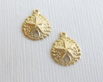 14kt Gold Filled Sand Dollar Charms -- 2 Pieces --  Sand Dollar Pendants