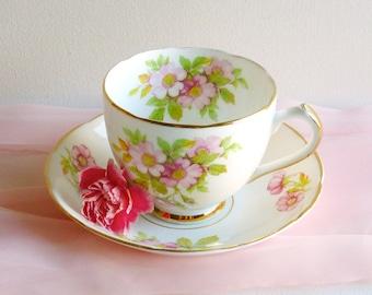 Vintage Duchess Pastel Pink Floral Teacup & Saucer, English Bone China. Pink Wild Rose Teacup, Vintage Rose Teacup, Tea Party, Vintage Gift
