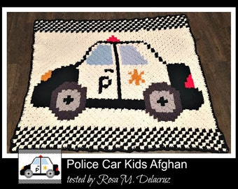 C2C Graph, Police Car Kids Afghan C2C Graph and Written Word Chart