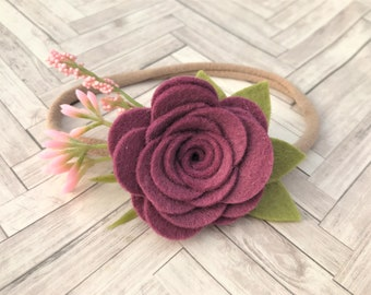 Felt flower headband - READY TO SHIP - nylon band - mullberry and pink