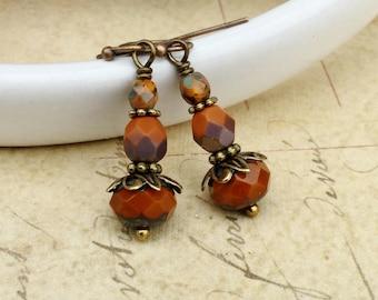 Orange Earrings, Burnt Orange Earrings, Umber Earrings, Victorian Earrings, Orange Gold Earrings, Czech Glass Beads, Unique Earrings, Gifts