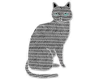 Schwarze Katze Emaille, schwarze Katze Schmuck, schwarze Katzenbrosche, schwarze Katze-Pin