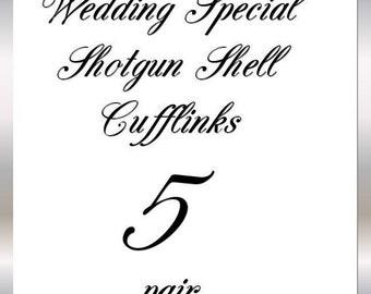 Shotgun Cufflinks Winchester Nickel 12 Gauge 5 Pair for Wedding Groomsmen