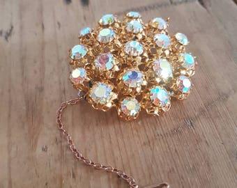 Vintage Aurora Borealis Brooch , Gold Filigree Brooch , Sparking  Vintage Crystals , Gifts For Her