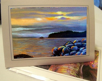 greeting Card Sunset in the sound alaska fishing