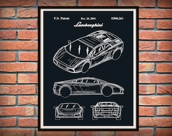 Patent 2004 Lamborghini - Sports Car - Art Print - Wall Art - Lambo Automobile Patent - Italian Sports Car - Car Patent