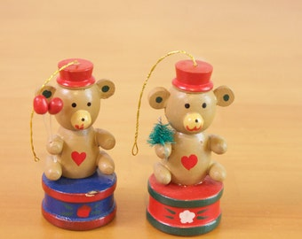 Vintage Wooden Bears sitting on drums Christmas Ornament set