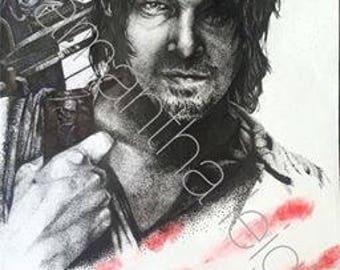 The Walking Dead Daryl Dixon Pointillism Print