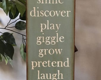 Primitive Child Nursery Classroom Wooden Sign