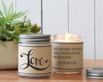 Love Candle Gift - I Love You Gift | Boyfriend Gift | Valentine's Day Gift | Husband Gift | Soy Candle | Scented Soy Candle | Custom Candle