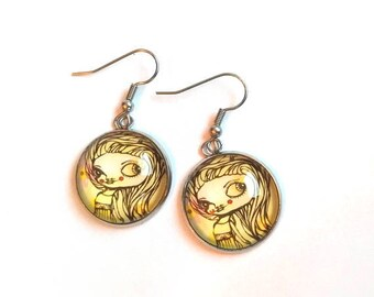 Cute girly earrings, illustration by Susann Brox Nilsen. Nickel free, silver colored. Cartoon, comics, pop art, gift idea, pen drawing.