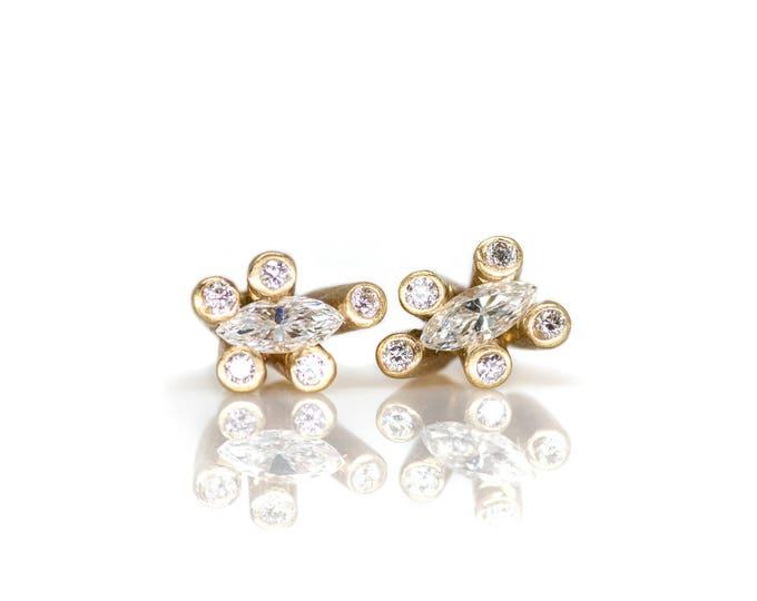Gold Sticks and Stones Diamond Studs