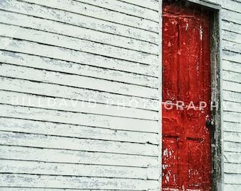 Old red door.