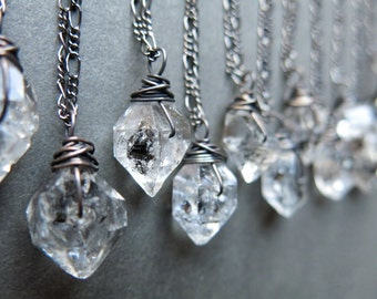 Raw Crystal Necklace - Raw Herkimer Diamond Necklace - Crystal Jewelry - Boho Necklace - Raw Quartz Necklace - Quartz Crystal Pendant
