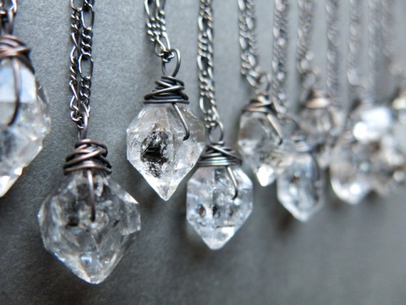 Raw crystal necklace raw herkimer diamond necklace crystal like this item aloadofball Gallery