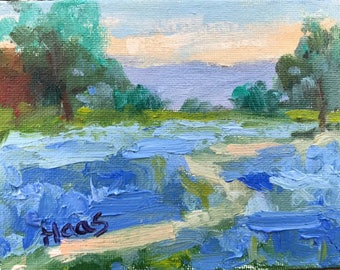 Original Oil Painting Plein Air Farmhouse Lupine Fields Shabby Cottage Chic Home Decor Artwork California Artist Blue Flower Honeystreasures