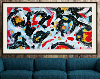 "Large abstract Painting Modern painting large abstract wall art Black Red White abstract Bold Art Decor 24""x48"" Canvas,  Contemporary Art"