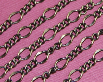 10ft of Antiqued Brass hammered Figaro chain chain 8x6mm soldered links