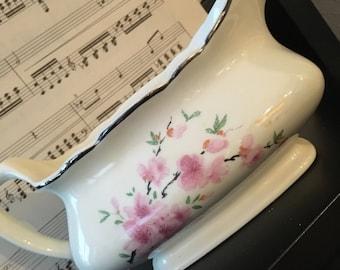 Vintage creamer, floral creamer, vintage kitchen, vintage gravy dish, floral china, creamer, pink