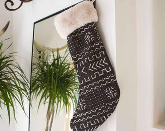 Black Tribal Mud Cloth Christmas Stocking with Fur Cuff