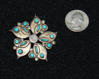 Sterling  Silver Zuni Brooch Pendant Pin Turquoise Accents Signed  B.C. Zuni Native American Indian