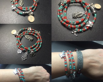 Triple wrap charm bracelet (coral/turquoise seed beads)