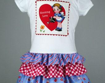 Girls Valentines dress pdf sewing pattern, layer ruffles skirt, toddler LAYER CAKE