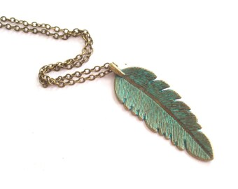 Turquoise Feather Necklace, Verdigris Patina Feather, Brass Feather Pendant Necklace, Feather Pendant, Layering Necklace, Nature Necklace