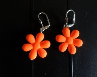 Orange flower girl earrings