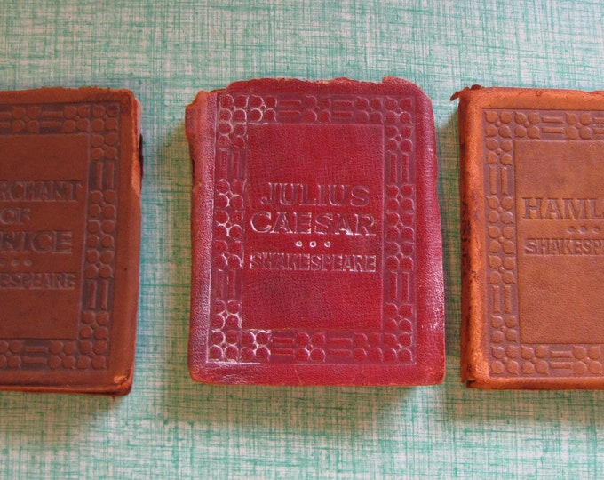 The Little Leather Library Shakespeare Plays Vintage and Antique Books Merchant of Venice, Julius Caeser, Hamlet