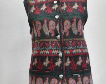 Vintage WOMEN'S WOOL VEST ,traditional  charming folk wool vest............(107)