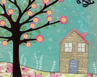 Collage House Painting, New Home, Home Sweet Home, Housewarming Gift, Art Print on Wood
