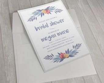 Muted Floral Bridal Shower Invitation
