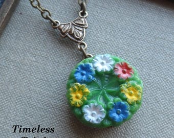 Vintage Glass Button Necklace, Hand Painted, Pressed Glass, Green with Yellow, Blue, White and Red Flower, Antique Brass