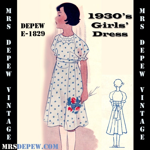 1930s Children's Fashion: Girls, Boys, Toddler, Baby Costumes 1930s Girls Dress Any Size Depew E-1829 Draft at Home Pattern -INSTANT DOWNLOAD-Vintage Sewing Pattern 1930s Girls Dress Any Size Depew E-1829 Draft at Home Pattern -INSTANT DOWNLOAD- $9.50 AT vintagedancer.com