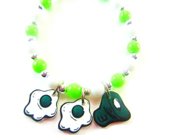 Green Eggs and Ham Bracelet, Green Eggs and Ham Jewelry, Green Eggs and Ham Necklace, Green Eggs and Ham Birthday Party Favors