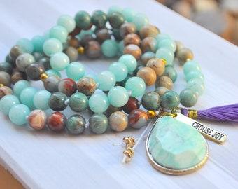 Aquamarine, African Opal & Australia Bloodstone Choose Joy Mala Necklace With Quartz Pendant And Tassel, Crystal Necklace,Beaded Necklace