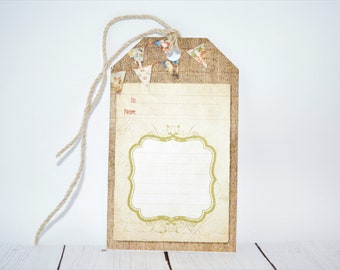 Santa banner christmas gift tags, set of 6, to and from gift tags, hemp cord included with every gift tag