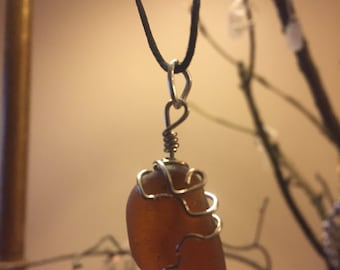 Amber sea glass wire wrapped