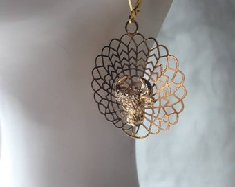 Bull Style fancy gold plated earrings