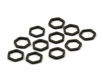 Black Hexagon Charm, 50 Black Oxidized Brass Hexagon Ring Charms (8x1mm) BS 1219 S175