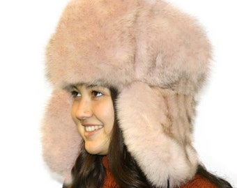 Glacier Wear Blue Fox Fur Russian Trooper Hat Dusty Pink