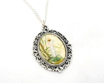Fairy Cameo Necklace, Faerie Illustration Pendant, Pixie Jewelry, Grasshopper Necklace