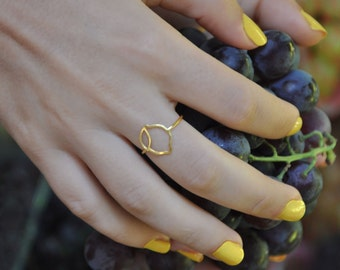 Fruit ring, Dainty ring in 5 fruit charm designs: Lemon / Orange / Apple / Pear / Peach, Minimalist Ring perfect for Ring Stacks, Pinky Ring