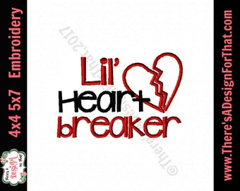Lil heart breaker embroidery design, broken heart embroidery design, valentines embroidery design, newborn embroidery design