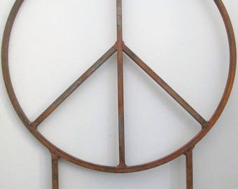Local Pick Up/no shipping charge- Huge 42 inch diameter Metal Peace Signs with two 32 inch tall legs