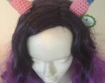 Pink and Blue Horned Headband